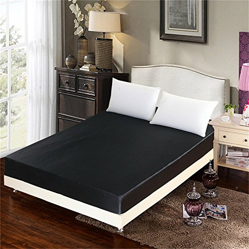 ADASMILE A & S Luxury Silky Soft Satin Fitted Sheet Ultra Soft Premium Brushed Microfiber Bed Sheets Solid Color (Black, Queen)