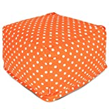 Majestic Home Goods Tangerine Small Polka Dot Ottoman, Large For Sale