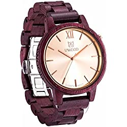 Uwood Luxury Brand Zebra Men's Sandal Wooden Watch Mens Swiss Movt Quartz Analog Watch With Bamboo Gift Box (Fuchsia)
