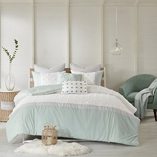 free shipping 7 Piece Girls Seafoam Green Grey White Tufts Dot Stripe Themed Comforter Full Queen Set, Girly Pretty Polka Dots Stripes Bedding, All Over Small Circle Polkadot Dot Texture Striped Pattern Gray Cotton