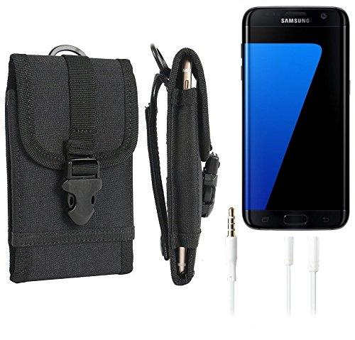 bolsa del cinturón / funda para Samsung Galaxy S7 edge, negro + Auriculares | caja del teléfono cubierta protectora bolso - K-S-Trade (TM)