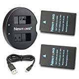 Newmowa EN-EL20 Battery (2 pack) and Dual USB Charger for Nikon EN-EL20, Nikon EN-EL20a, Nikon 1 J1, Nikon 1 J2, Nikon 1 J3, Nikon 1 S1, Nikon 1 V3, Nikon Coolpix A, Nikon 1 AW1 and Blackmagic Pocket Cinema Camera