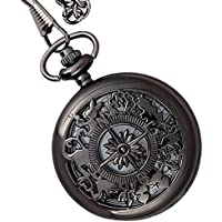 Lmp3Creation Black Classic Vintage Retro Antique Skeleton Hollow Pocket Watch With Chain For Unisex (Pow-0001)