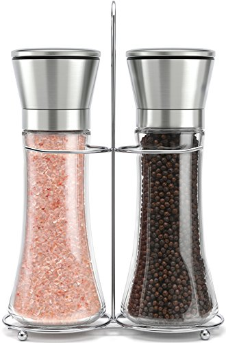 Original Stainless Steel Salt and Pepper Grinder Set With Stand - Tall Salt and Pepper Shakers with Adjustable Coarseness - Salt Grinders and Pepper Mill Shaker Mills Set by Willow & Everett