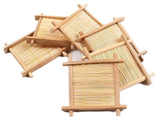 Moyishi Handmade Nature Bamboo Made Boaster Tic Tac Toe Coaster Holder,Set of 6