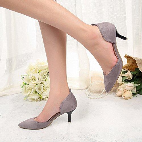 ZHUDJ Zapatos De Mujer Señaló Las Mujeres Huecas Zapatos Zapatos con Tacones OL Superficial Delgada Boca,Gris,35 Thirty-five|gray