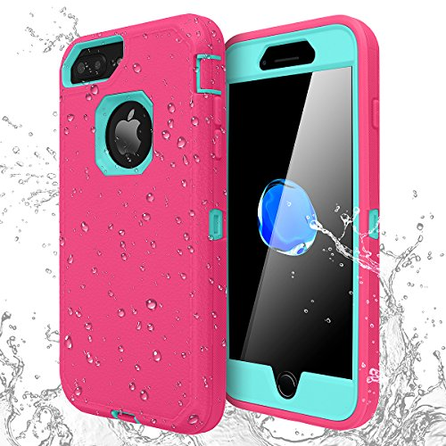 iPhone 7 Plus/8 Plus Shockproof Case,AICase [Heavy Duty] [Full Body] Built-in Screen Protector Water-Resistance Cover for Apple iPhone 8 Plus/7 Plus/6 Plus/6s Plus (Light Blue+Pink)