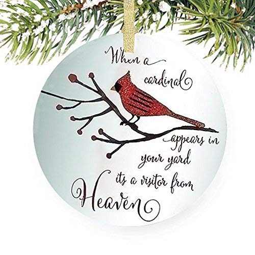 Cardinal Visitor From Heaven Glitter 4.5 Inch Glass Memorial Disk Christmas -