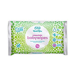 Mum & You Biodegradable and Compostable Plastic Free Baby Wet Wipes 336 count (6 packs of 56) 98% Water, 0% Plastic, Hypoallergenic & Dermatologically Tested