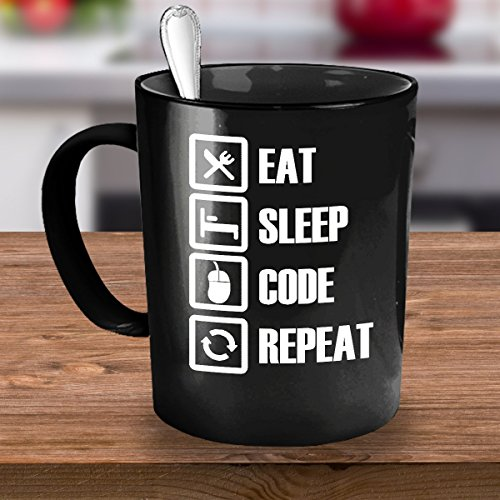 Gift for Computer Programmer - Eat Sleep Code Repeat Mug - 11oz Black Ceramic, Printed in USA