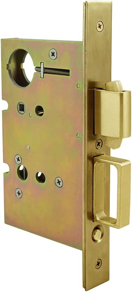 Polished Brass INOX PD84-234-3 Mortise Pocket Door Lock Entry with Deadbolt and Edge Pull