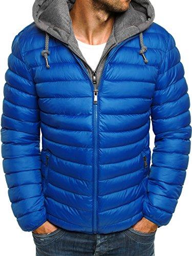 OZONEE Herren Winterjacke Steppjacke Sweatjacke Sportjacke Wärmejacke Jacke Parka Gesteppt Daunenjacke J.STYLE 3110 BLAU L