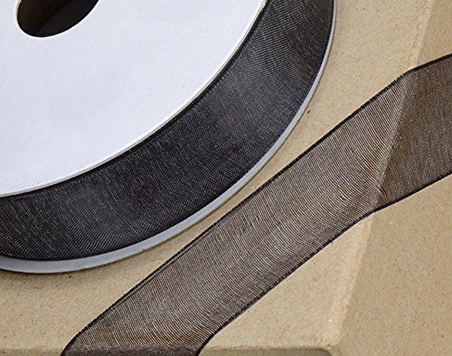 10mm Black Woven Edge Organza Ribbon for Crafts - 25m (Woven Mm 10 Edge)