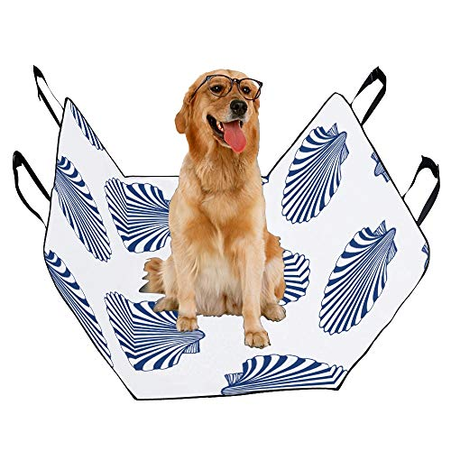 VNASKL Dog Seat Cover Custom Scallop Printing Car Seat Covers for Dogs 100% Waterproof Nonslip Durable Soft Pet Car Seat Dog Car Hammock for Cars Trucks SUV