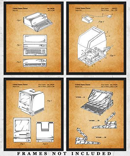 Vintage Steve Jobs Computer Patent Wall Art Prints: Unique Room Decor for Boys, Men, Girls & Women - Set of Four (8x10) Unframed Pictures - Great Gift Idea for Computer Geeks & Apple Fans!