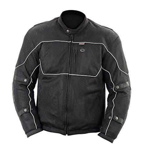 Brooks Leather Men's Textile Mesh Riding Jacket (Black, Large)