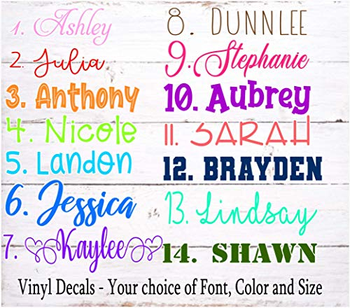 Name or Word Decal, Personalized Car Window Tumbler Laptop Notebook Planner Wall Decal Sticker, Your choice of Font, Color and Size-OVER 50 COLOR choices