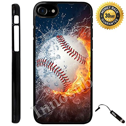 Custom iPhone 7 Case (Ice and Fire Powerful Baseball) Edge-to-Edge Plastic Black Cover with Shock and Scratch Protection | Lightweight, Ultra-Slim | Includes Stylus Pen by Innosub (Baseball Kindle Fire Hd Case)