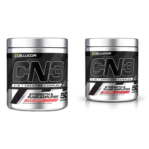 Muscle Amplifier Pump (Cellucor CN3 Creatine Nitrate, Creatine HCl, Creatine Monohydrate Powder, Strength and Pump Amplifier, Cherry Limeade & Fruit Punch, 100 Servings Bundle)