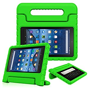 Fintie Shock Proof Case for All-New Amazon Fire 7 Tablet (7th Gen, 2017) - Kiddie Series Light Weight Convertible Handle Stand Kids Friendly Cover, compatible with Fire 7 (5th Gen, 2015), Green