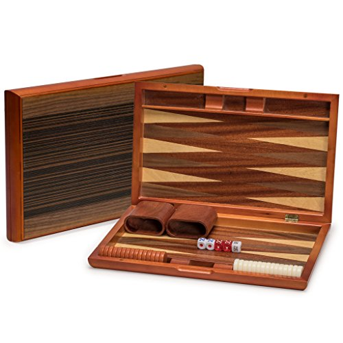 Backgammon Game Set with Wood Inlay Board and Accessories, 15 Inches (Folding Wood Backgammon Set)