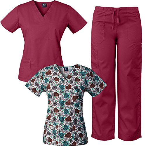 Medgear 3-Piece Combo, Eversoft Scrubs Set With Printed Scrubs Top DOBW