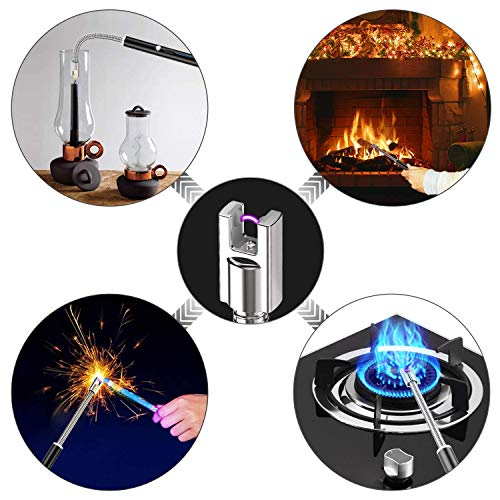 tikysky Lighter, Flexible Plasma Arc Long Neck USB Lighter Rechargeable Windproof Flameless for Candles, Grill, Cooking, Camping, Hiking(Exc. Candle)