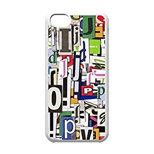 Cool iPhone 5C White Case,Colorful Clippings Customized Hard Back Case for iPhone 5C iPhone 5Cs