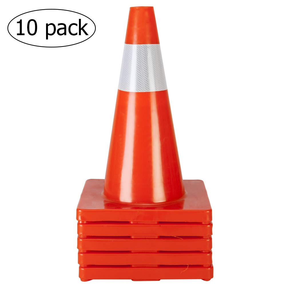 ROVSUN 10Pcs Safety Traffic Cones, 18'' Orange Slim Fluorescent Reflective Collars, Road Parking Field Marker Cones for Outdoor Activity & Festive Events Multipurpose