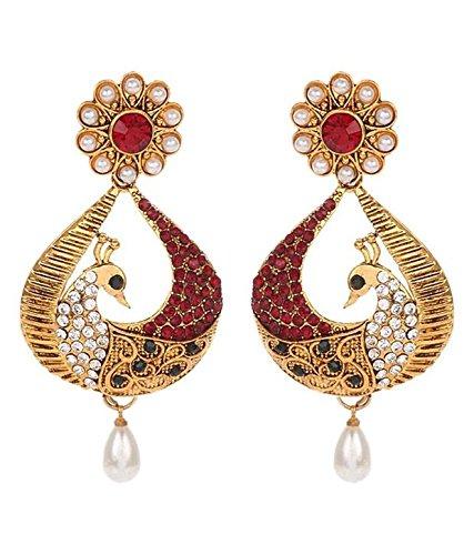 YouBella Dancing Peacock Stylish Jhumki Earrings for Women (Multi-Color)