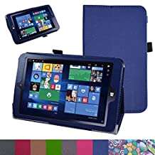 "Insignia NS-P08W7100 Case,Mama Mouth PU Leather Folio 2-folding Stand Cover with Stylus Holder for 8"" Insignia Flex NS-P08W7100 Windows 10 Tablet 2016,Dark Blue"