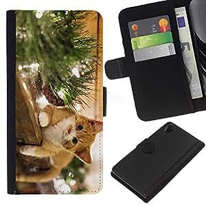 Sony Xperia Z2 D6502 - Dibujo PU billetera de cuero Funda Case Caso de la piel de la bolsa protectora Para (The Happy Cat)