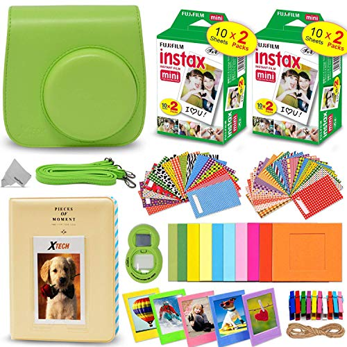 Fitted Fujifilm Case - Fujifilm Instax Mini Instant Film (2 Twin Packs, 40 Total Pictures) + Lime Green Fitted Case for Instax Mini 9 Instant Camera, Assorted Colorful Stickers/Frames, Photo Album + More