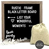 Muga Black Letter Board 12'x12' Message Board. 290 Changeable Letters, Rustic Frame & Wall Hook, Nail File & Letters Bag, A Great Gift for Your Family