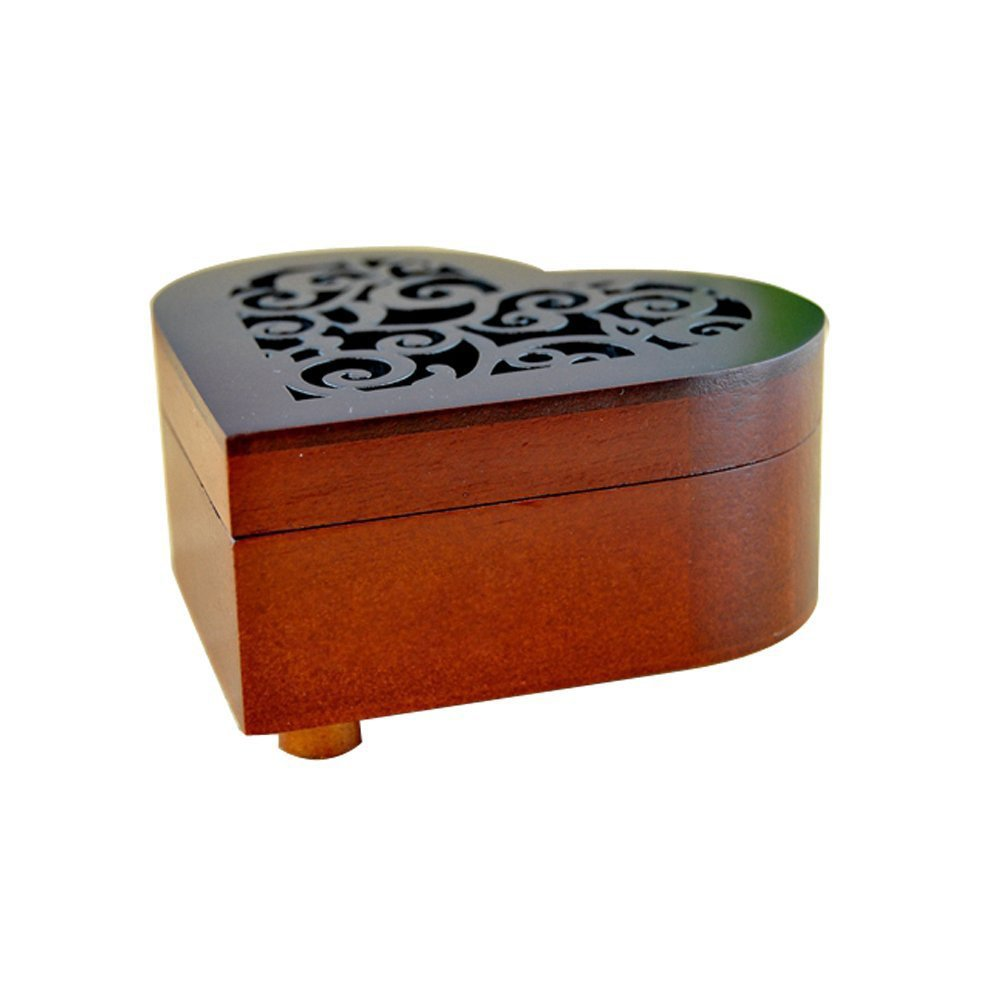 WESTONETEK Heart Shape Vintage Wood Carved Mechanism Musical Box Wind Up Music Box Gift For Christmas/Birthday/Valentine's day, Melody For Elise by WESTONETEK (Image #5)