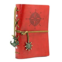 Homecube Vintage Classic PU Leather Notebook Refillable Loose-leaf Design Diary Pirate Notepad Travel Journal Blank Note Book Mediterranean Style Daily Use Gift (Red)