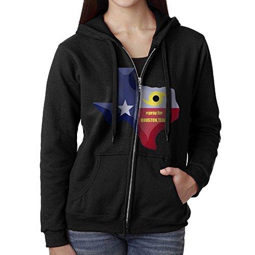 Pray For HOUSTON Casual Womens Full-Zip Sweatshirt Hoodie Jacket Black Large