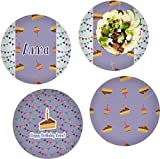 Happy Birthday Set of 4 Lunch / Dinner Plates (Glass) (Personalized)