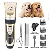 Maxshop Low Noise Rechargeable Dogs Clippers Grooming Trimming Kit Set with Long Life Battery Use for Small Middle Large Dogs and Cats Pets (Gold+Black)