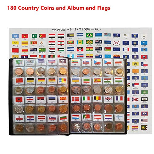 Coin Collection Starter Kit 180 Countries Coins /100% Original Genuine/World Coin with Leather Collecting Album Taged by Country Name and Flags/Coin Holder Collection Storage Classic Gifts