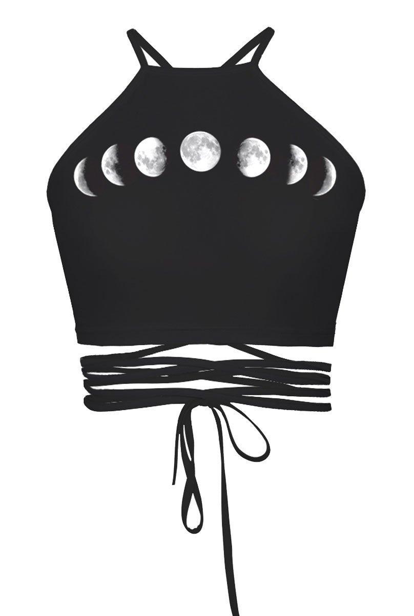 Women's Girls Cartoon Print Crisscross Halter Vest Crop Tops Tanks Camis Moon Moon One Size