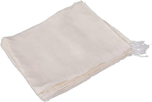 HEALLILY Bolsa de filtro de algodón bolsa de cordón filtrante bolsas de colador de té para sopa jugo de fruta medicina 10 piezas: Amazon.es: Hogar