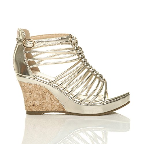 Size Ajvani Sandals High Heel Gold Strappy Women qcA1zS