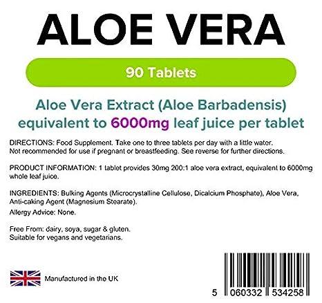 Lindens Aloe Vera 6000 mg en comprimidos | 360 Paquete | Extracto de concentrado, equivalente a 6000 mg de jugo de hoja de aloe vera: Amazon.es: Salud y ...