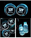 IHEX Auto 2pcs Car LED Logo Cup Pad for Cadillac All Series, LED Light Trim with USB Rechargeable Car Interior Decoration Atmosphere Lamp Light, 7 color Luminescent LED Holder Mat Coaster