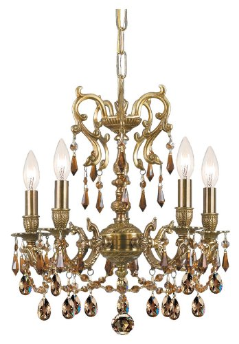 - Crystorama 5525-AG-GT-MWP, Gramercy Crystal 1 Tier Chandelier Lighting, 5 Light, 300 Watts, Brass