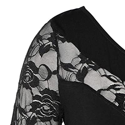 Meikosks Women's Plus Size Blouse Floral Lace Tops Asymmetric Swing Tunic Causal O-Neck T Shirt at  Women's Clothing store