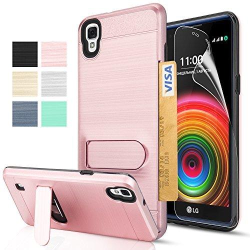 LG X Power Case, LG K210 Case, LG K6P Case with HD Screen Protector,AnoKe[Card Slots Wallet Holder]Kickstand Plastic TPU Hybrid Shockproof Heavy Duty For LG [K450 K6 K220 US610 K210] KC1 Rose Gold