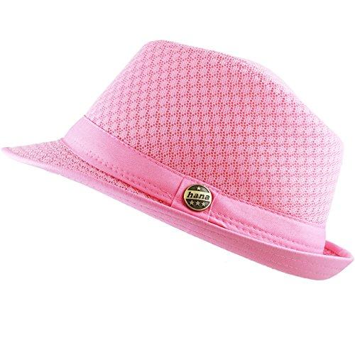 Fedora Pink Hat (THE HAT DEPOT 200G1015 Light Weight Classic Soft Cool Mesh Fedora hat (S/M, Lt. Pink))