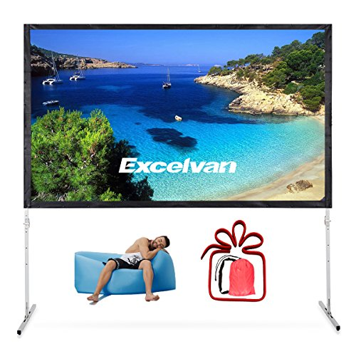 Excelvan Fast Folding Portable Projector Screen Indoor Outdoor Movie Theater screen with Adjustable Stand Legs, Sticky Button and Carry Bag For Front Projection (100 Inch 16:9) (Computer 100% Bag Pvc)